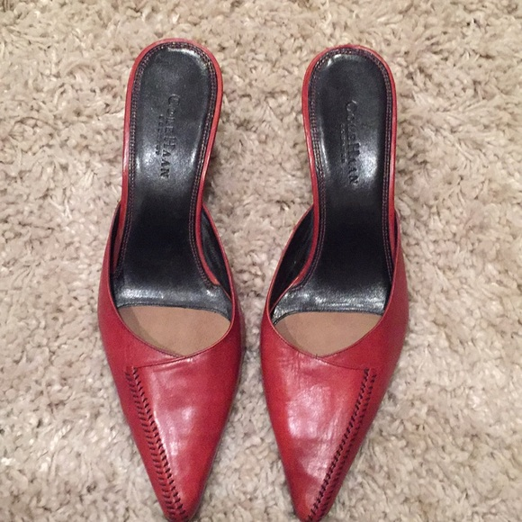 5b56792aa8d Cole Haan Shoes - Cole Haan pointed toe red leather mules Sz 10
